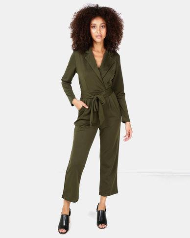 SassyChic Keri Tailored Jumpsuit Khaki