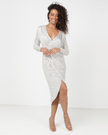 Princess Lola Boutique A Sparkle In Time Sequin Wrap Dress Silver