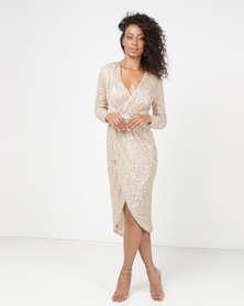 Princess Lola Boutique A Sparkle In Time Sequin Wrap Dress Gold