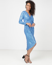 Princess Lola Boutique A Sparkle In Time Sequin Wrap Dress - Blue
