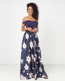 Princess Lola Boutique High Moon Off Shoulder Gown Blue
