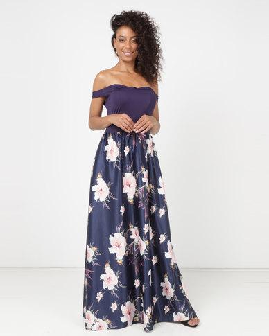 Princess Lola Boutique High Moon Off Shoulder Gown Blue