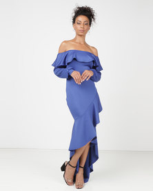 Princess Lola Boutique Rio Asymmetric Ruffle Evening Dress Blue