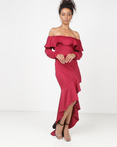 Princess Lola Boutique Rio Lantern Sleeve Asymmetric Ruffle Hem Evening Dress Red