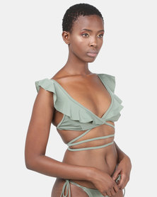 thehive Frill Wrap Around Bikini Top Army Green
