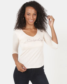 Sissy Boy Basic Logo Long Sleeve Top Oatmeal