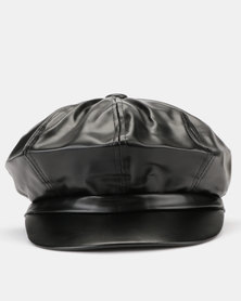 You & I Faux Leather Baker Boy Hat Black