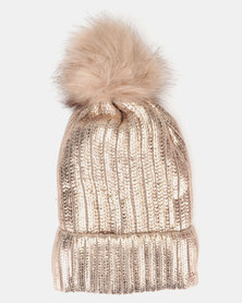You & I Pom Pom Beanie Rose Gold