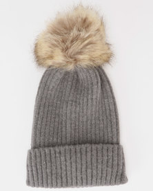 You & I Faux Fur Pom Pom Beanie  Dark Grey