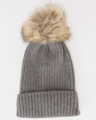 You   I Faux Fur Pom Pom Beanie Dark Grey  034b4f94b44
