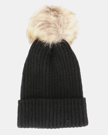 You & I Faux Fur Pom Pom Beanie  Black