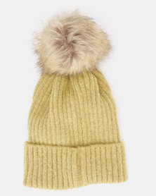 You & I Faux Fur Pom Pom Beanie  Mustard