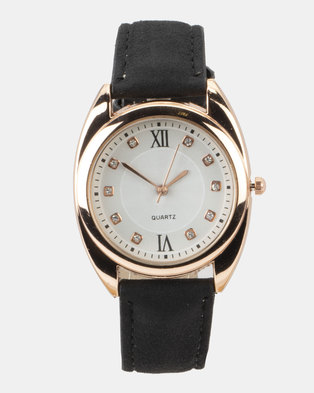 You & I Faux Suede Strap Watch Black and Rose Gold