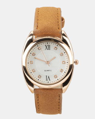 You & I Faux Suede Strap Watch Tan and Rose Gold