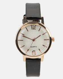 You & I Patent PU Strap Watch Black and Rose Gold