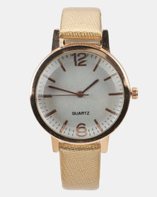 You & I Patent PU Strap Watch Gold and Rose Gold