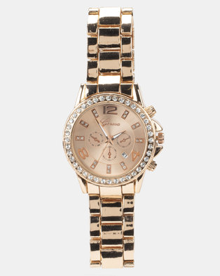 You & I Diamante and Metal Link Strap Watch Rose Gold