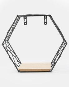 Royal T Hexagon Iron Wall Shelf Black