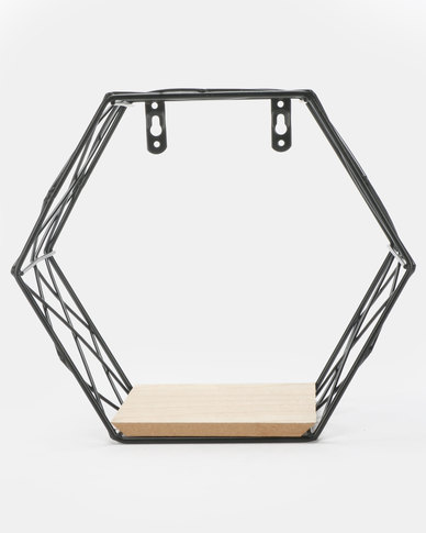 Royal T Hexagon Iron Wall Shelf Black