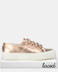 Superga Croc Print Bling Glitter Laces Sneakers Rose Gold