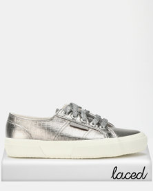 Superga Croc Print Bling Glitter Laces Sneakers Grey