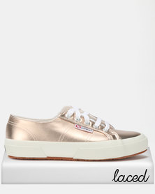 Superga Metallic Foil Sneakers Shine Rose Gold