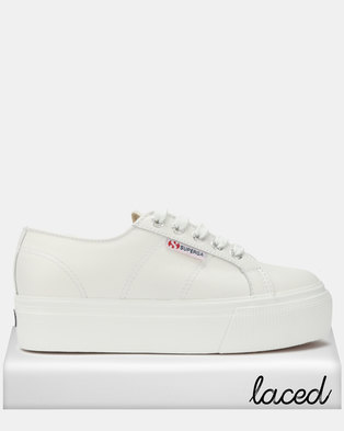Superga Leather Full Flatform Wedge Sneakers White fd3900fcc1