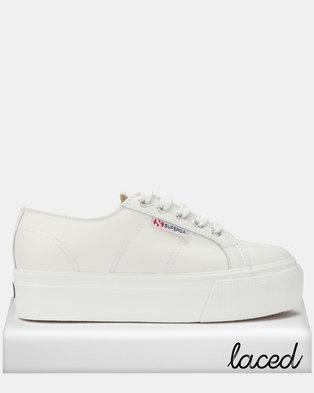 Superga Leather Full Flatform Wedge Sneakers White 977cf59ea