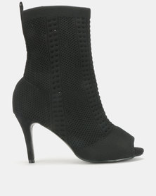 Urban Zone Sock Knit Boots Black