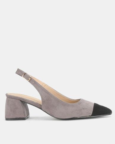 Urban Zone Slingback Block Heel Sandals Grey/Black