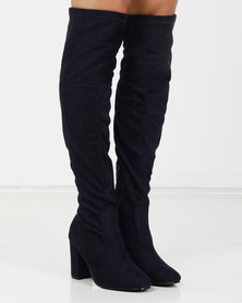 Urban Zone Over The Knee Boots Navy