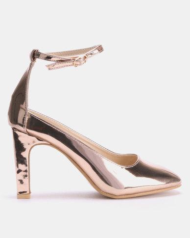Footwork Jayden Square Toe Heels Rose Gold