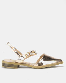 Footwork Claire Jewel Flat Rose Gold