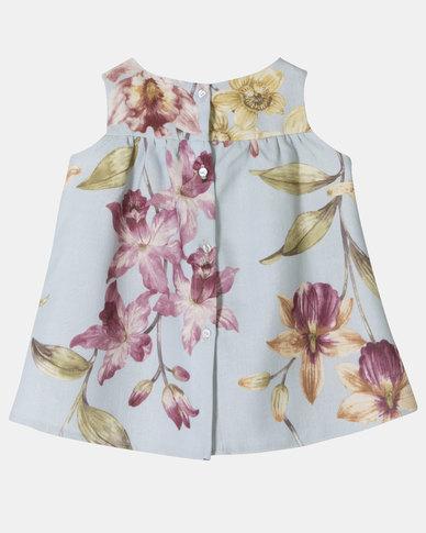 Aqua Floral Mini Dress
