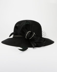 Queenspark Diamante Feather Trim Hat Black