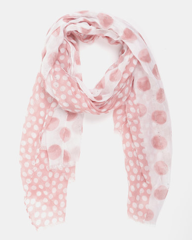 Queenspark Multi Spot With Sequins Poly Scarf Pink