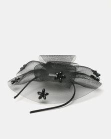 Queenspark Bold Beaded Fascinator With Alice Band Black