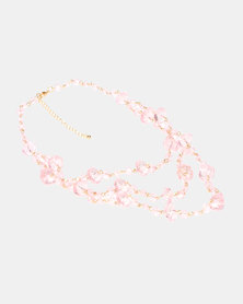 Queenspark Clear 3 Row Necklace Pink