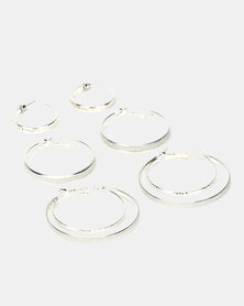 Queenspark Triple Hoop Earrings Pack Silver