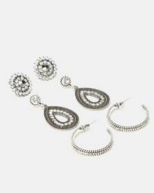 Queenspark Anthrosite 3 Pack Earrings Silver