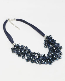 Queenspark Rope & Thread Cluster Necklace Navy