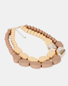 Queenspark Chunky Wooden Necklace Natural
