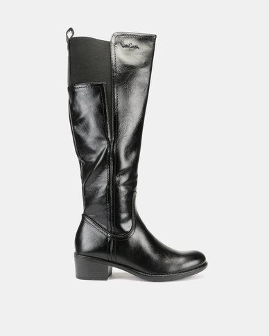 Pierre Cardin Elastic Gusset Riding Boots Black