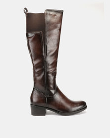 Pierre Cardin Elastic Gusset Riding Boots Brown