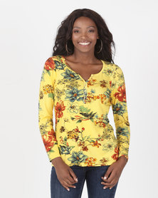 cath.nic By Queenspark Floral Print Knit Top Yellow