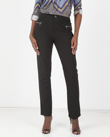 Miss Cassidy By Queenspark Smart Zip Detail Woven Slacks Black