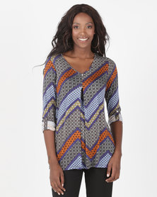 Miss Cassidy By Queenspark Zig Zag Print Knit Tunic Blue