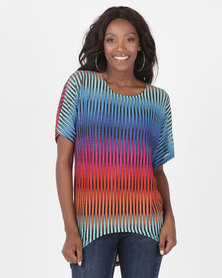 Miss Cassidy By Queenspark Kaleidoscope Knit Top Multi