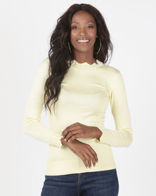 Miss Cassidy By Queenspark Pearl Trim Scallop Jersey Light Yellow