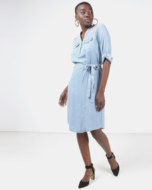 Miss Cassidy By Queenspark Embroidered Tencel Woven Dress Blue
